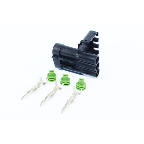 3 Way Black Weather Pack Shroud Sealed Male Connector, Terminals & Seals Kit - Max Current 20 amps